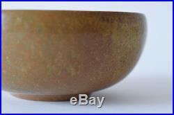 Vintage L Hjorth Bowl brown Denmark Danish Scandinavian midcentury pottery