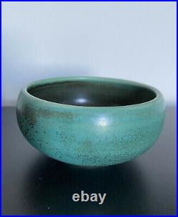 Vintage L Hjorth matte green small bowl Denmark Danish Scandinavian midcentury