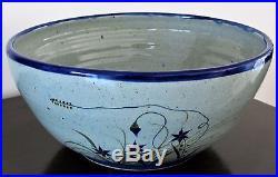 Vintage Large Bowl 15.5 D 7 H Tonala Mexico Xochiquetzal Pottery Teresa Duran