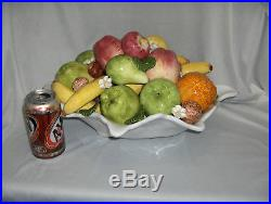Vintage Large Capodimonte Ceramic Bowl Of Fruit Centerpiece Bowl Gump's NICE