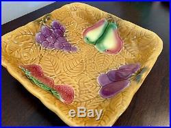 Vintage Large French Majolica Salins Les Bains Fruit Platter Bowl Rare