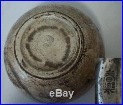 Vintage Large Hagi Pottery Bowl, Daruma With Fly Whisk
