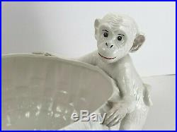 Vintage Large Italian Ceramic Monkey Bowl San Marco Nove Italy Majolica Pottery
