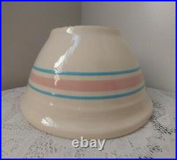Vintage Large McCoy USA Oven Ware Mixing Bowl #10 Pink & Blue Bands Yellow Ware