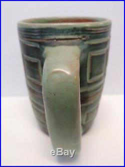 Vintage Lot 2 Puerto Rican Pottery Coffee Cup and Bowl Blie Green