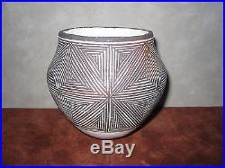 Vintage Lucy M. Lewis Pottery Bowl, Acoma Pueblo Indian Fine Line Pot, Signed