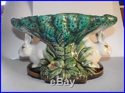 Vintage MAJOLICA Bunny Bunnies Rabbit Ceramic Pedestal Bowl Dish Green Turquoise