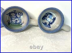 Vintage MA Hadley Soup Crock Set Of 4 Dish Bowl Handle Lid Hand Painted Pottery