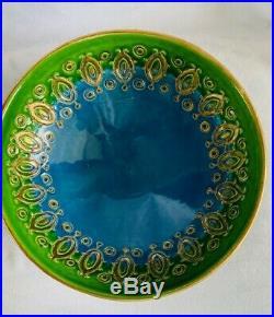 Vintage MCM Rosenthal Netter Italy Bitossi Aldo Londi Blue Green Gold Bowl 992