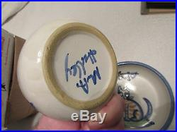Vintage M. A. Hadley Studio Pottery Cat Kitten Bowl And Saucer Great Shape Rare