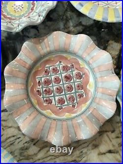 Vintage MacKenzie Childs 9 Deep Plate or Soup Bowl Rose Cottage