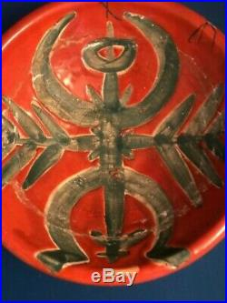 Vintage Madoura Plein Feu Pottery Wax Resist Bowl with Icarus NOT Picasso Ramie