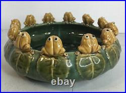 Vintage Majolica 12 Seated Frogs On Lilly Pad Bowl Planter Ceramic 10.5 x 4