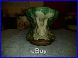 Vintage Majolica Bunny Rabbit Pedestal Bowl Dish
