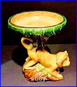 Vintage Majolica Glazed Ceramic Capuchin Monkey Pedestal Compote Dish or Tazza