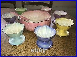 Vintage Maling Ware Lustre Serving Bowl Utensils & 7 Dishes China