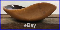 Vintage Marcello Fantoni MID Century Leather Ceramic Bowl Dish Signed 1950's