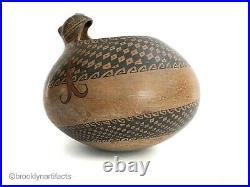 Vintage Mata Ortiz Pottery Figural Snake Jar / Bowl Signed Nusalos