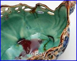 Vintage Mayolica Jardiniere Centerpiece Bowl Blue Green Openwork Lattice