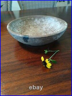 Vintage McCarty Pottery Bowl. Nutmeg, black miss Line. 7.5dia 2.4 Tall
