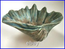 Vintage McCartys Pottery Clam Shell Bowl Jade & Blues