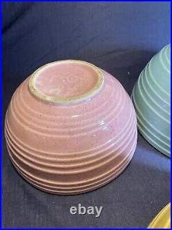 Vintage McCoy 3 Piece Matte Pastel Color Glaze Ribbed Mixing Nesting Bowl Set