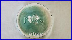 Vintage McCoy USA Pottery Glazed Green Dog Bowl Dish MAN'S BEST FRIEND, no chips