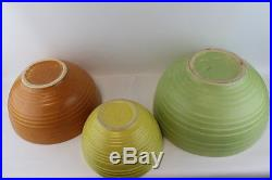 Vintage Mccoy 3 piece Nesting/ Mixing Bowls Retro Green, Orange, Yellow Speckled