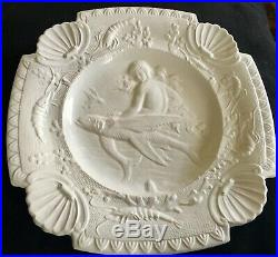 Vintage Mermaid And Fish White Majolica French Plate Bowl France Scarce
