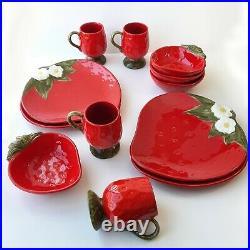 Vintage Metlox Poppytrail California Strawberry Kitchen 4 Plate 4 Bowls 4 Mugs