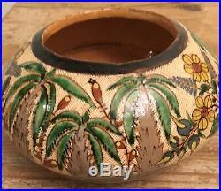 Vintage Mexican Ceramic Pottery Tecomate Petatillo Bowl Tlaquepaque