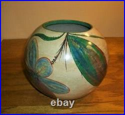 Vintage Mexican Clay Feather Pottery Flora Fauna Flowers Tecomate Folk Art Bowl