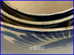 Vintage Mexican Pottery Tlaquepaque 3 Nesting Bowls Blue Beige Floral Mexico
