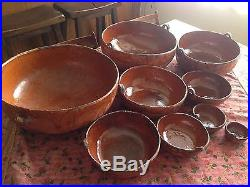 Vintage Mexican Red Clay Pottery Nesting 9 Bowl Complete Set