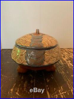 Vintage Mexican Tonala Art Pottery Turtle Covered Serving Bowl