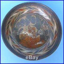 Vintage Mexican Tonala burnished tri-pod bowl signed AMADO GALVAN 10 diam