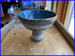 Vintage Mid-Century Aldo Londi Bitossi Footed Pedestal Bowl Seta Series Italy