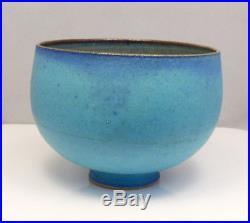 Vintage Mid Century Edwin & Mary Scheier Studio Art Pottery Blue Bulbous Bowl