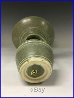 Vintage Mid Century Modern Japanese Art Pottery Pedestal Vase Bowl Ikebana Japan