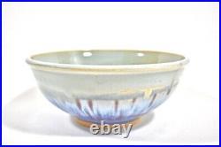 Vintage Mid-Century Studio Pottery Bowl Planter Modernist Blue Drip Glaze