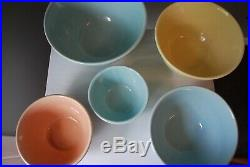 Vintage Mixing Bowls (nesting) pottery USA Oven Proof SET OF 5 blue yellow peach