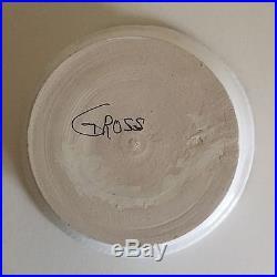 Vintage Moise Gross Hand Thrown Black & White Studio Pottery Round Bowl