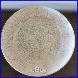 Vintage Monumental Raku Fired Ceramic Pottery Crackle Vessel Bowl SIGNED