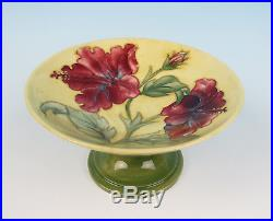 Vintage Moorcroft HIBISCUS ON YELLOW Compote Footed Pedestal Bowl Dish Pottery
