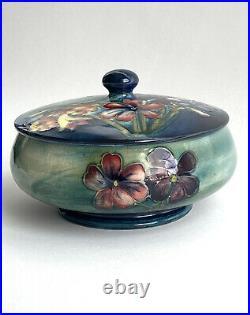 Vintage Moorcroft Pottery ANENOME Spring Flowers Floral Lidded Bowl Blue 1928-53