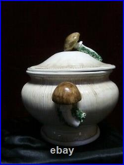 Vintage Mushroom Ceramic Soup Tureen w Lid Ladle ITALIAN Retro Canister Bowl