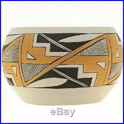 Vintage Native American Acoma Polychrome Pottery Bowl Signed S Chino 1975
