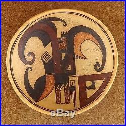 Vintage Old Hopi Style SIKYATKI Polychrome Pottery Bowl by Chakoptewa c1990