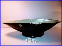 Vintage Original Creations by Frankoma Pottery#612 Black/Green Planter/Bowl/Boat