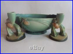 Vintage Original Roseville Green Pinecone Centerpiece Bowl & Candle Sticks. L@@k